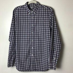 Uniqlo red plaid button down shirt. Medium
